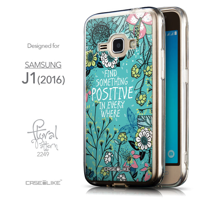 Front & Side View - CASEiLIKE Samsung Galaxy J1 (2016) back cover Blooming Flowers Turquoise 2249