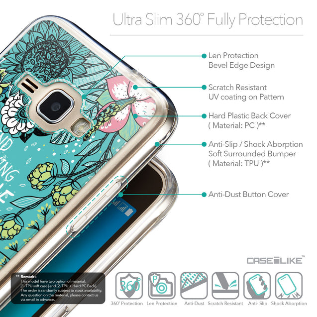 Details in English - CASEiLIKE Samsung Galaxy J1 (2016) back cover Blooming Flowers Turquoise 2249
