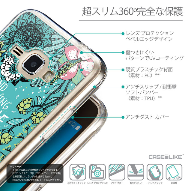 Details in Japanese - CASEiLIKE Samsung Galaxy J1 (2016) back cover Blooming Flowers Turquoise 2249