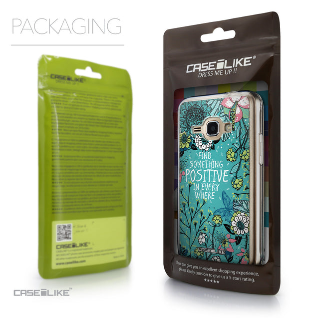 Packaging - CASEiLIKE Samsung Galaxy J1 (2016) back cover Blooming Flowers Turquoise 2249