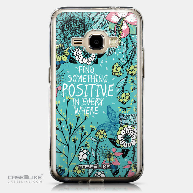 CASEiLIKE Samsung Galaxy J1 (2016) back cover Blooming Flowers Turquoise 2249
