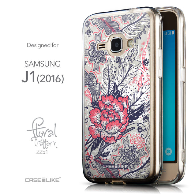 Front & Side View - CASEiLIKE Samsung Galaxy J1 (2016) back cover Vintage Roses and Feathers Beige 2251
