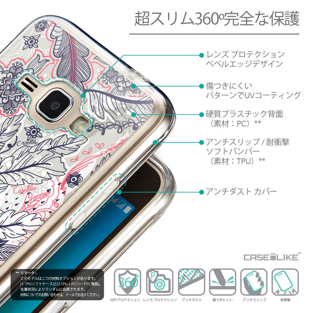 Details in Japanese - CASEiLIKE Samsung Galaxy J1 (2016) back cover Vintage Roses and Feathers Beige 2251