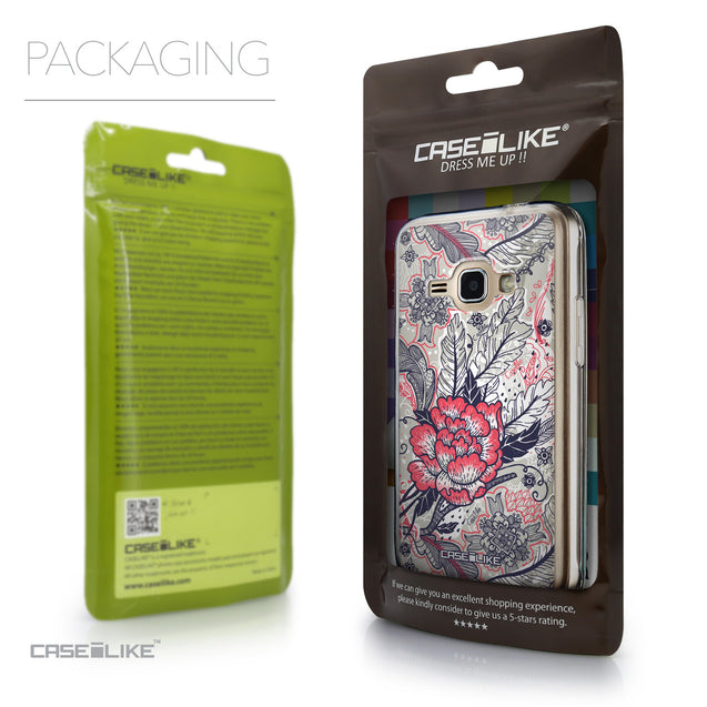 Packaging - CASEiLIKE Samsung Galaxy J1 (2016) back cover Vintage Roses and Feathers Beige 2251