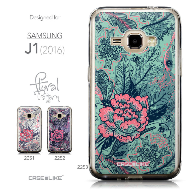 Collection - CASEiLIKE Samsung Galaxy J1 (2016) back cover Vintage Roses and Feathers Turquoise 2253