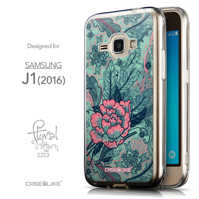 Front & Side View - CASEiLIKE Samsung Galaxy J1 (2016) back cover Vintage Roses and Feathers Turquoise 2253