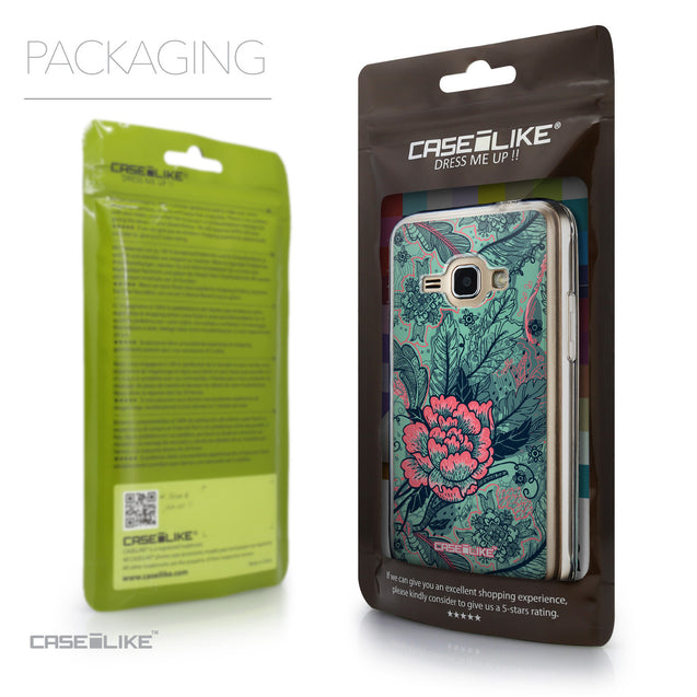 Packaging - CASEiLIKE Samsung Galaxy J1 (2016) back cover Vintage Roses and Feathers Turquoise 2253