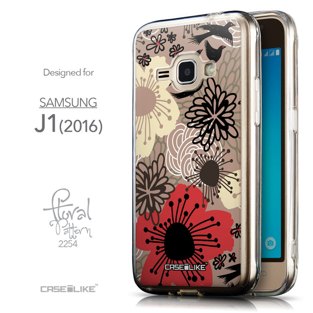 Front & Side View - CASEiLIKE Samsung Galaxy J1 (2016) back cover Japanese Floral 2254