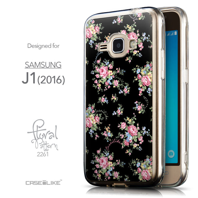 Front & Side View - CASEiLIKE Samsung Galaxy J1 (2016) back cover Floral Rose Classic 2261