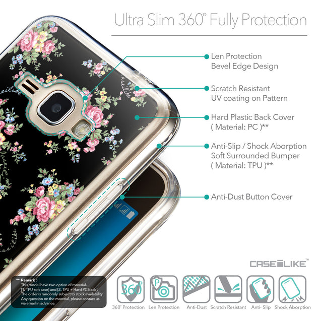 Details in English - CASEiLIKE Samsung Galaxy J1 (2016) back cover Floral Rose Classic 2261
