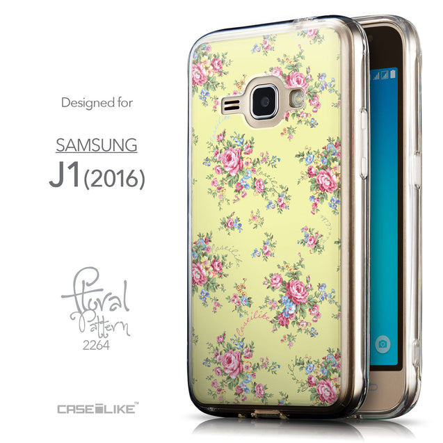 Front & Side View - CASEiLIKE Samsung Galaxy J1 (2016) back cover Floral Rose Classic 2264