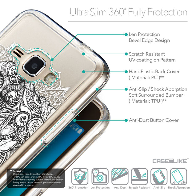 Details in English - CASEiLIKE Samsung Galaxy J1 (2016) back cover Mandala Art 2300