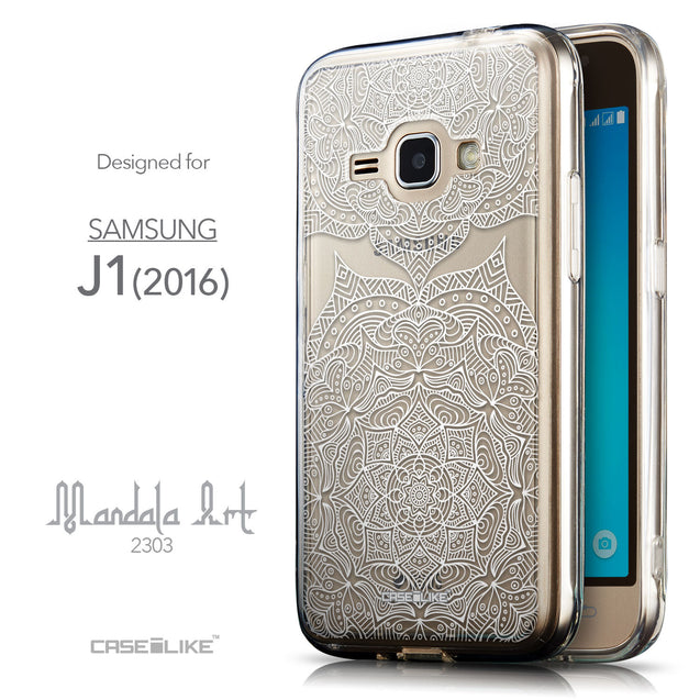 Front & Side View - CASEiLIKE Samsung Galaxy J1 (2016) back cover Mandala Art 2303