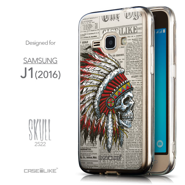 Front & Side View - CASEiLIKE Samsung Galaxy J1 (2016) back cover Art of Skull 2522