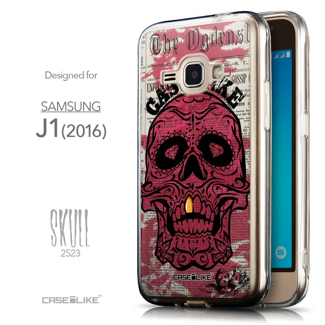 Front & Side View - CASEiLIKE Samsung Galaxy J1 (2016) back cover Art of Skull 2523