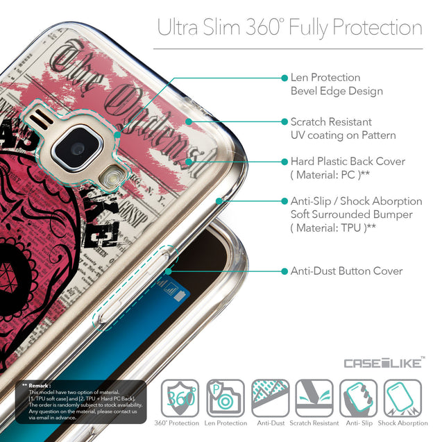 Details in English - CASEiLIKE Samsung Galaxy J1 (2016) back cover Art of Skull 2523
