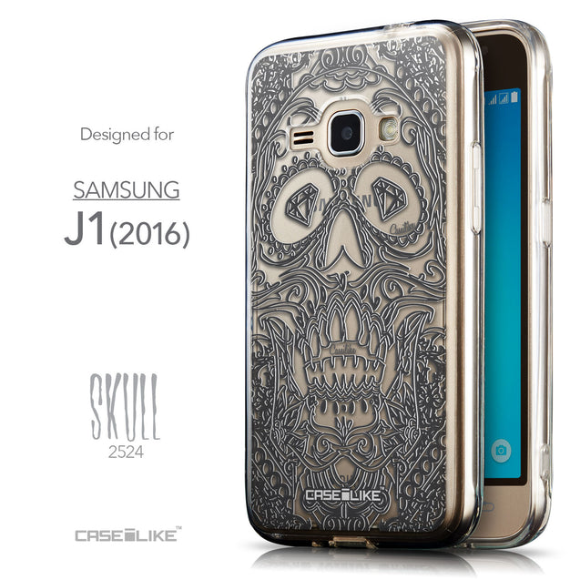 Front & Side View - CASEiLIKE Samsung Galaxy J1 (2016) back cover Art of Skull 2524