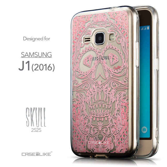 Front & Side View - CASEiLIKE Samsung Galaxy J1 (2016) back cover Art of Skull 2525