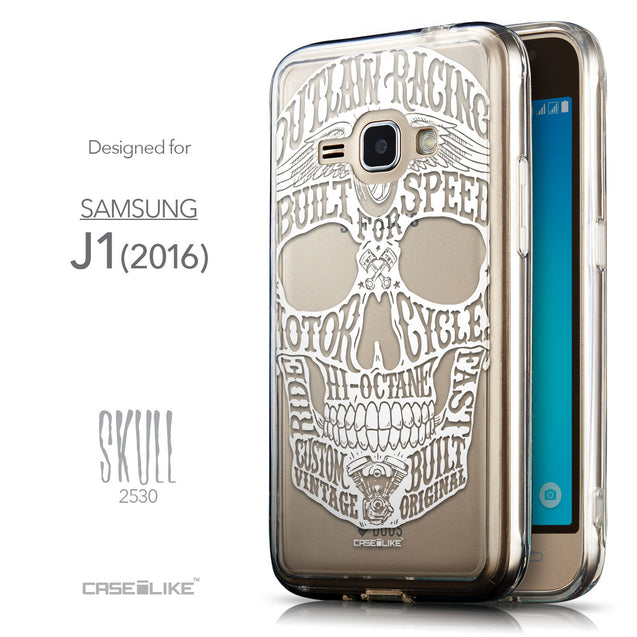 Front & Side View - CASEiLIKE Samsung Galaxy J1 (2016) back cover Art of Skull 2530