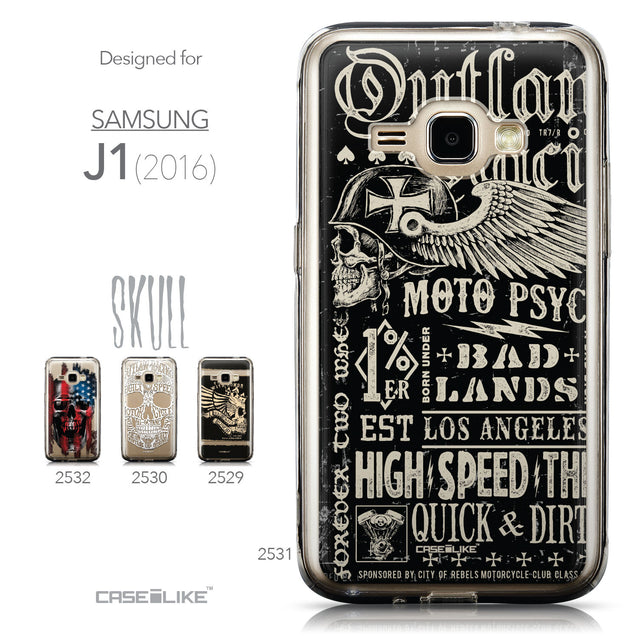 Collection - CASEiLIKE Samsung Galaxy J1 (2016) back cover Art of Skull 2531