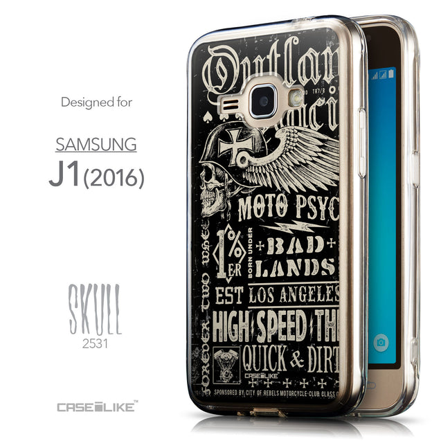 Front & Side View - CASEiLIKE Samsung Galaxy J1 (2016) back cover Art of Skull 2531