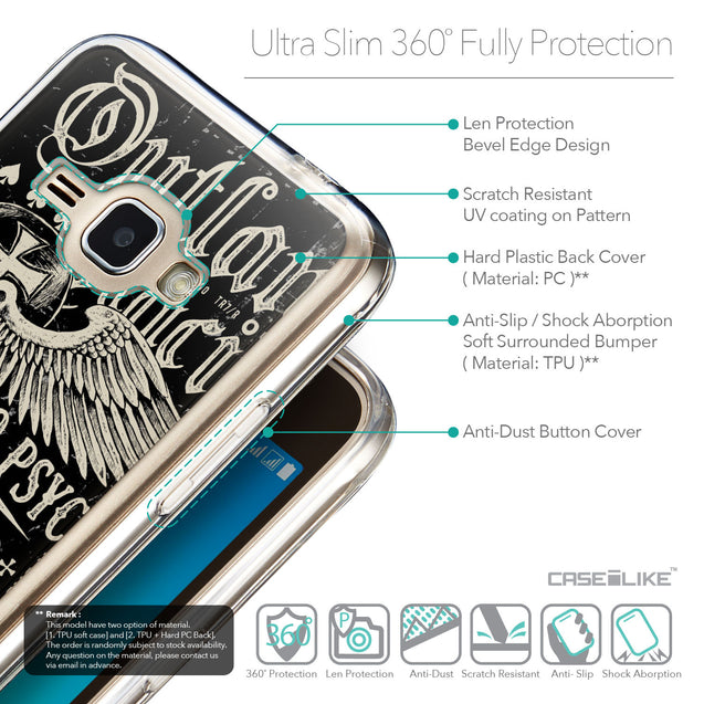 Details in English - CASEiLIKE Samsung Galaxy J1 (2016) back cover Art of Skull 2531