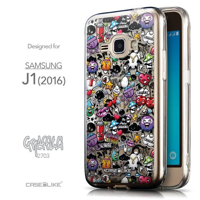 Front & Side View - CASEiLIKE Samsung Galaxy J1 (2016) back cover Graffiti 2703