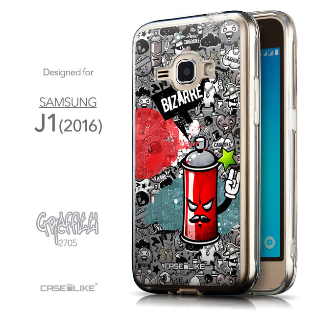 Front & Side View - CASEiLIKE Samsung Galaxy J1 (2016) back cover Graffiti 2705