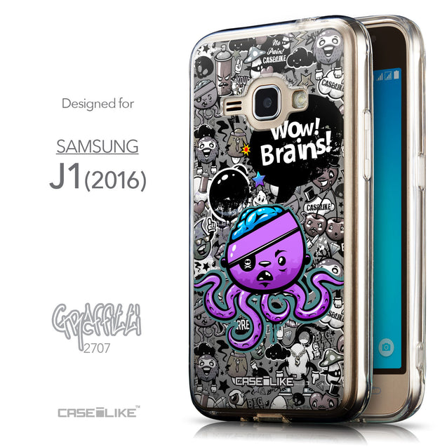 Front & Side View - CASEiLIKE Samsung Galaxy J1 (2016) back cover Graffiti 2707