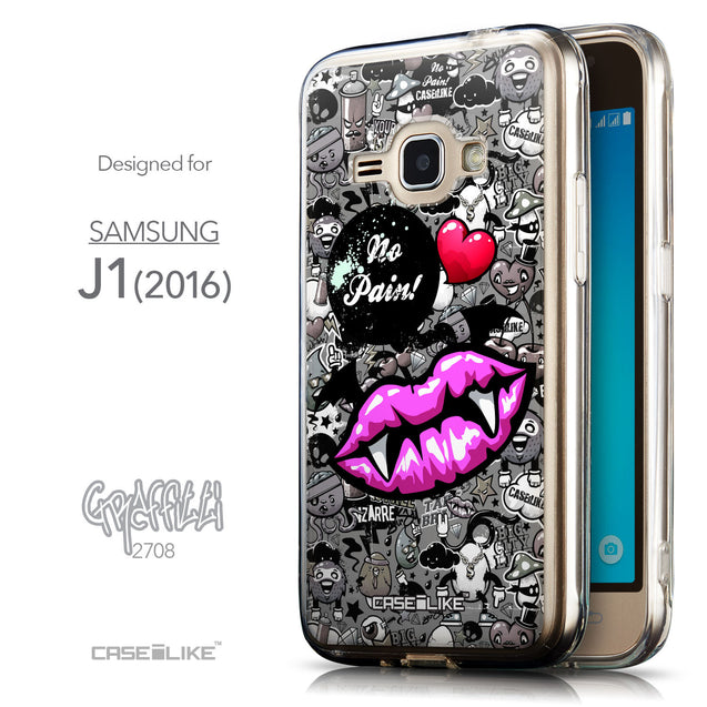 Front & Side View - CASEiLIKE Samsung Galaxy J1 (2016) back cover Graffiti 2708