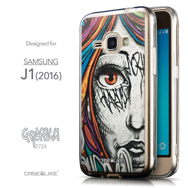 Front & Side View - CASEiLIKE Samsung Galaxy J1 (2016) back cover Graffiti Girl 2724