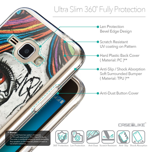 Details in English - CASEiLIKE Samsung Galaxy J1 (2016) back cover Graffiti Girl 2724