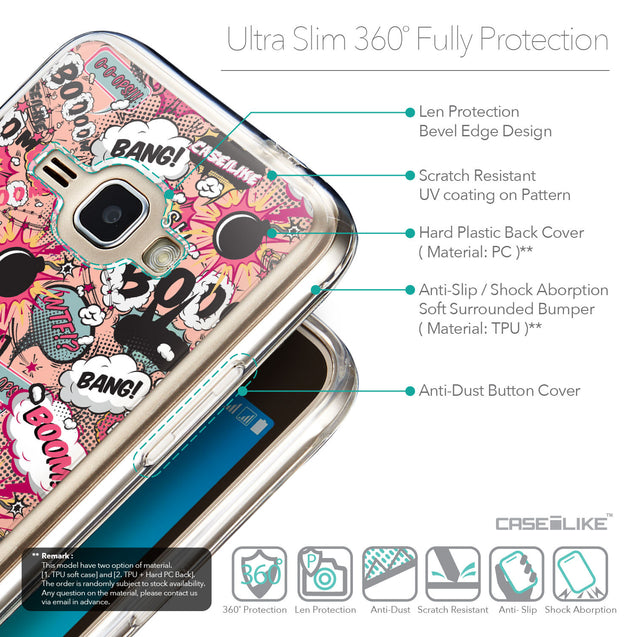 Details in English - CASEiLIKE Samsung Galaxy J1 (2016) back cover Comic Captions Pink 2912