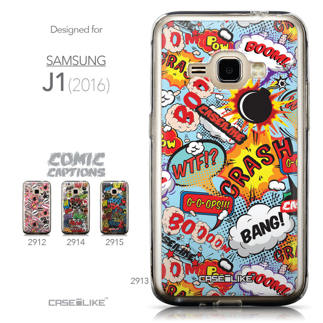 Collection - CASEiLIKE Samsung Galaxy J1 (2016) back cover Comic Captions Blue 2913