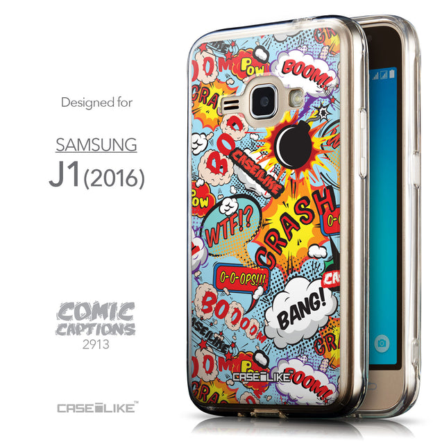 Front & Side View - CASEiLIKE Samsung Galaxy J1 (2016) back cover Comic Captions Blue 2913