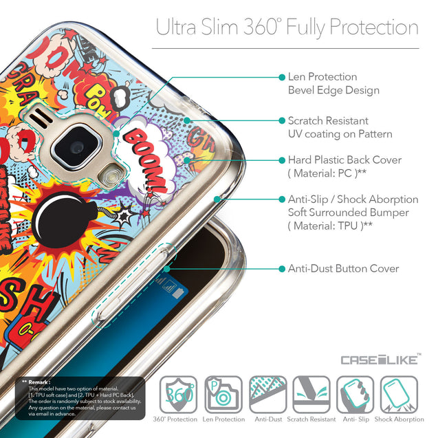 Details in English - CASEiLIKE Samsung Galaxy J1 (2016) back cover Comic Captions Blue 2913