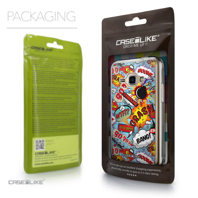 Packaging - CASEiLIKE Samsung Galaxy J1 (2016) back cover Comic Captions Blue 2913
