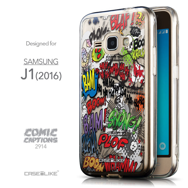 Front & Side View - CASEiLIKE Samsung Galaxy J1 (2016) back cover Comic Captions 2914