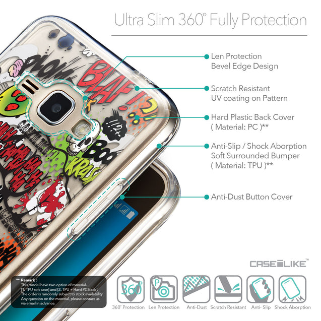 Details in English - CASEiLIKE Samsung Galaxy J1 (2016) back cover Comic Captions 2914