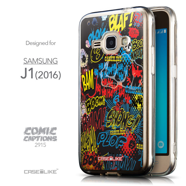 Front & Side View - CASEiLIKE Samsung Galaxy J1 (2016) back cover Comic Captions Black 2915