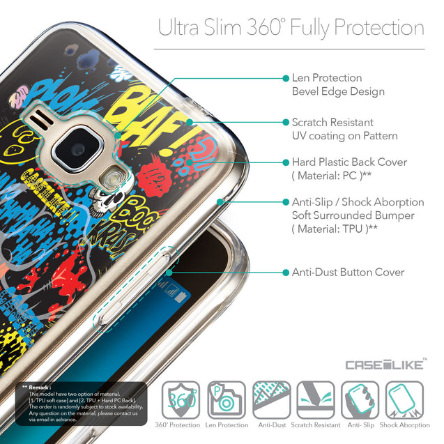 Details in English - CASEiLIKE Samsung Galaxy J1 (2016) back cover Comic Captions Black 2915