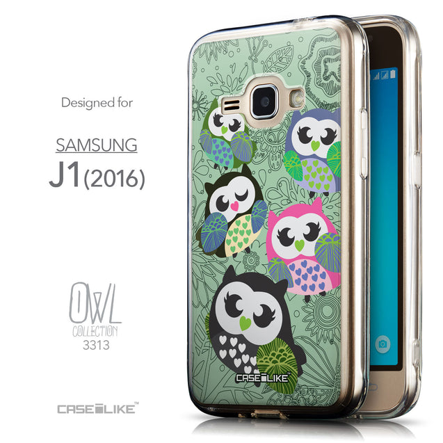Front & Side View - CASEiLIKE Samsung Galaxy J1 (2016) back cover Owl Graphic Design 3313