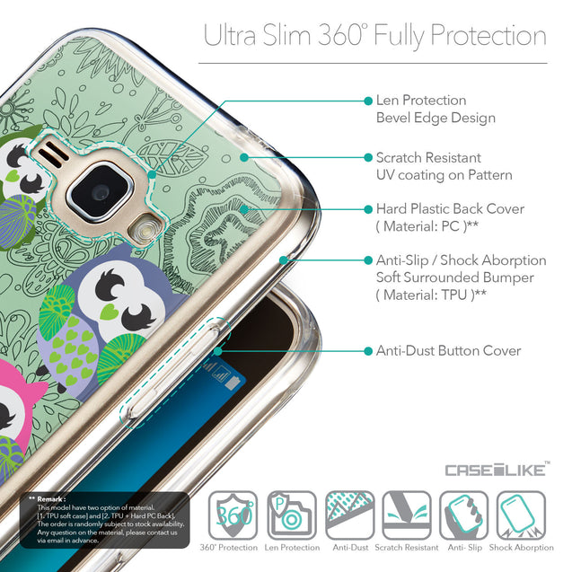 Details in English - CASEiLIKE Samsung Galaxy J1 (2016) back cover Owl Graphic Design 3313