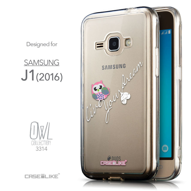 Front & Side View - CASEiLIKE Samsung Galaxy J1 (2016) back cover Owl Graphic Design 3314