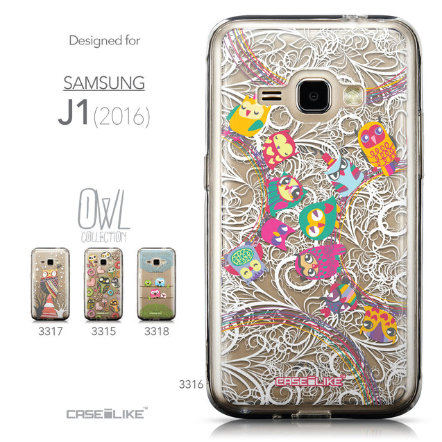 Collection - CASEiLIKE Samsung Galaxy J1 (2016) back cover Owl Graphic Design 3316