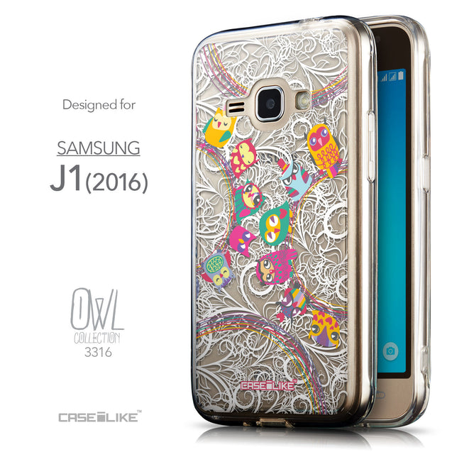 Front & Side View - CASEiLIKE Samsung Galaxy J1 (2016) back cover Owl Graphic Design 3316