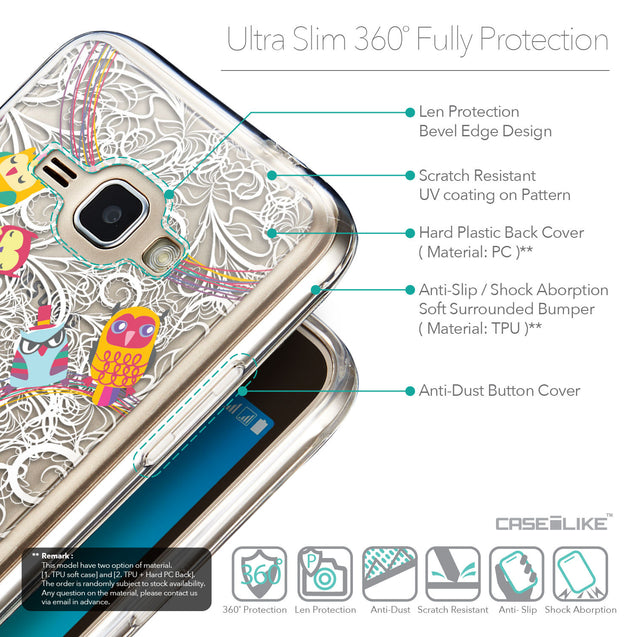 Details in English - CASEiLIKE Samsung Galaxy J1 (2016) back cover Owl Graphic Design 3316