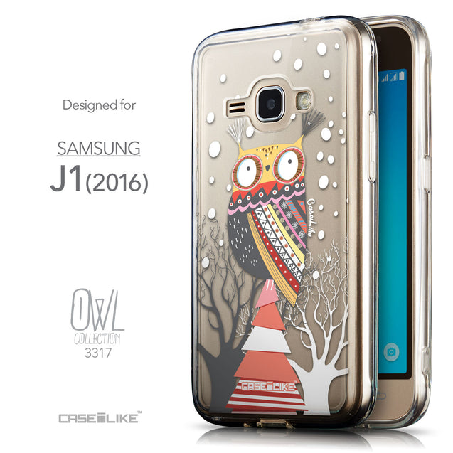 Front & Side View - CASEiLIKE Samsung Galaxy J1 (2016) back cover Owl Graphic Design 3317