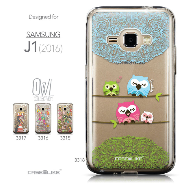 Collection - CASEiLIKE Samsung Galaxy J1 (2016) back cover Owl Graphic Design 3318