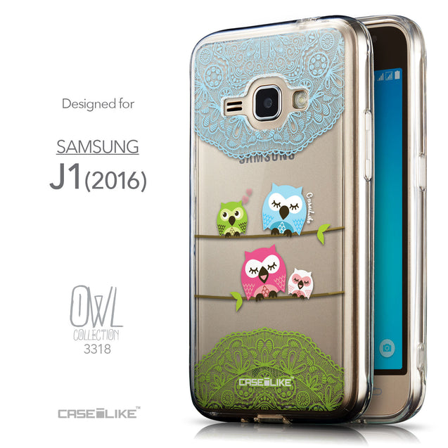 Front & Side View - CASEiLIKE Samsung Galaxy J1 (2016) back cover Owl Graphic Design 3318
